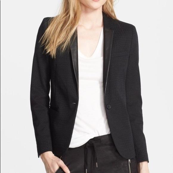 fc17da0776b The Kooples Jackets & Coats | Leather Collar Jacquard Blazer | Poshmark